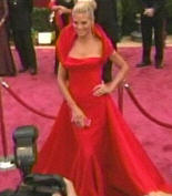 Heidi Klum in her red galliano