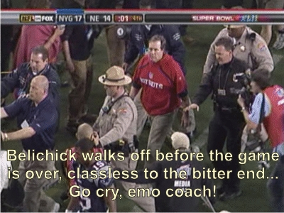 Go cry emo coach, Bill Belichick cheater loser Patriots lose to Giants
