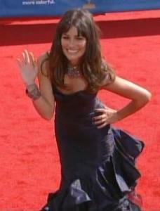 Lea Michelle in Oscar de la Renta Emmys 2010